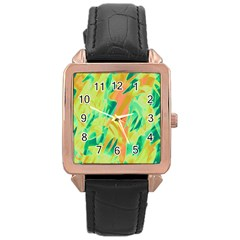 Green and orange abstraction Rose Gold Leather Watch