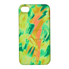 Green and orange abstraction Apple iPhone 4/4S Hardshell Case with Stand