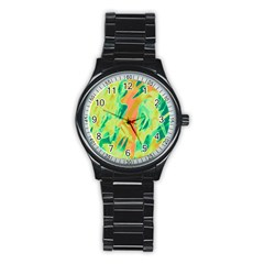 Green and orange abstraction Stainless Steel Round Watch