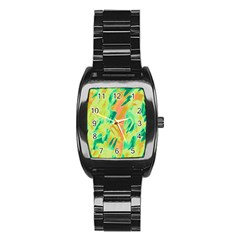 Green and orange abstraction Stainless Steel Barrel Watch