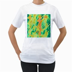 Green and orange abstraction Women s T-Shirt (White)