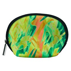 Green and orange abstraction Accessory Pouches (Medium)