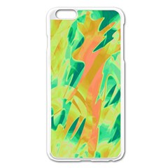 Green and orange abstraction Apple iPhone 6 Plus/6S Plus Enamel White Case