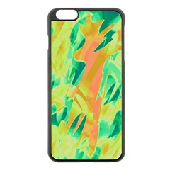 Green and orange abstraction Apple iPhone 6 Plus/6S Plus Black Enamel Case