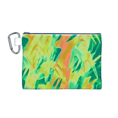 Green and orange abstraction Canvas Cosmetic Bag (M)