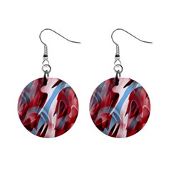 Blue and red smoke Mini Button Earrings
