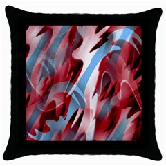 Blue and red smoke Throw Pillow Case (Black)