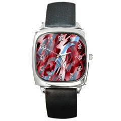 Blue and red smoke Square Metal Watch