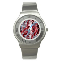 Blue and red smoke Stainless Steel Watch