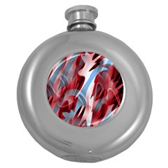 Blue and red smoke Round Hip Flask (5 oz)