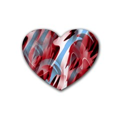 Blue and red smoke Rubber Coaster (Heart)