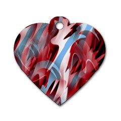 Blue and red smoke Dog Tag Heart (Two Sides)