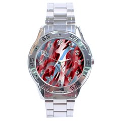 Blue and red smoke Stainless Steel Analogue Watch