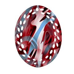 Blue and red smoke Oval Filigree Ornament (2-Side)