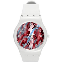 Blue and red smoke Round Plastic Sport Watch (M)