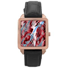 Blue and red smoke Rose Gold Leather Watch