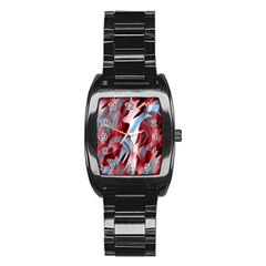 Blue and red smoke Stainless Steel Barrel Watch