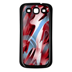 Blue and red smoke Samsung Galaxy S3 Back Case (Black)