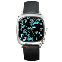 Painter was here - cyan Square Metal Watch
