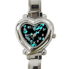Painter was here - cyan Heart Italian Charm Watch