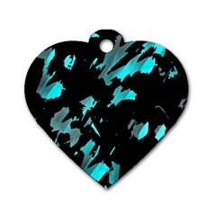 Painter was here - cyan Dog Tag Heart (Two Sides)