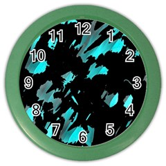 Painter was here - cyan Color Wall Clocks