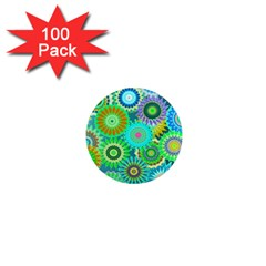 Funky Flowers A 1  Mini Magnets (100 pack)