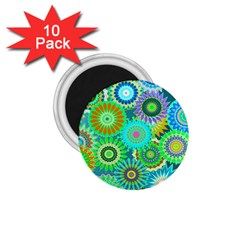 Funky Flowers A 1.75  Magnets (10 pack)