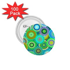 Funky Flowers A 1.75  Buttons (100 pack)