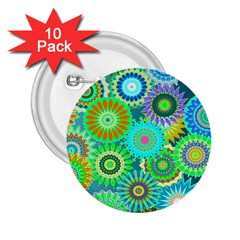 Funky Flowers A 2.25  Buttons (10 pack)