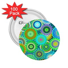 Funky Flowers A 2.25  Buttons (100 pack)