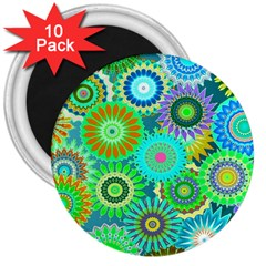 Funky Flowers A 3  Magnets (10 pack)