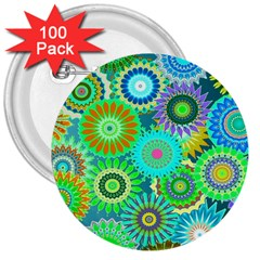 Funky Flowers A 3  Buttons (100 pack)