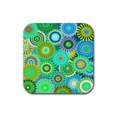 Funky Flowers A Rubber Square Coaster (4 pack)