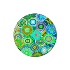 Funky Flowers A Rubber Round Coaster (4 pack)