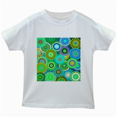 Funky Flowers A Kids White T-Shirts