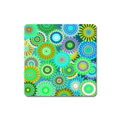 Funky Flowers A Square Magnet