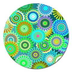 Funky Flowers A Magnet 5  (Round)
