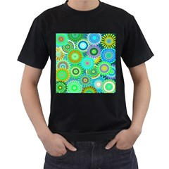 Funky Flowers A Men s T-Shirt (Black) (Two Sided)