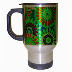 Funky Flowers A Travel Mug (Silver Gray)