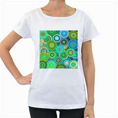 Funky Flowers A Women s Loose-Fit T-Shirt (White)