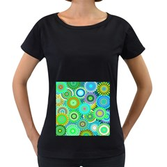Funky Flowers A Women s Loose-Fit T-Shirt (Black)