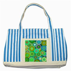 Funky Flowers A Striped Blue Tote Bag
