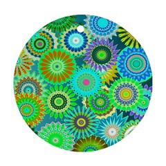 Funky Flowers A Round Ornament (Two Sides)