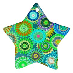 Funky Flowers A Star Ornament (Two Sides)