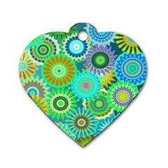 Funky Flowers A Dog Tag Heart (Two Sides)