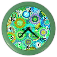 Funky Flowers A Color Wall Clocks