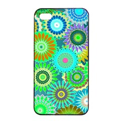 Funky Flowers A Apple iPhone 4/4s Seamless Case (Black)