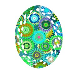 Funky Flowers A Ornament (Oval Filigree)
