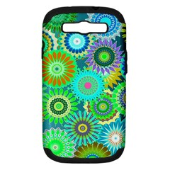 Funky Flowers A Samsung Galaxy S III Hardshell Case (PC+Silicone)